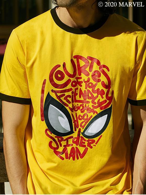 latest Marvel  Spider-Man Mask Graphic Ringer T Shirt - YELLOW M