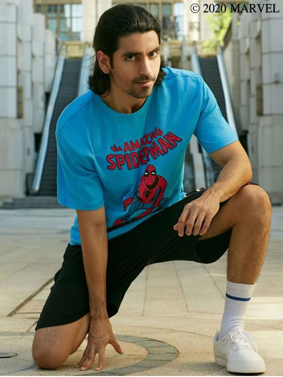 hot Marvel Spider-Man Graphic Print Short Sleeve T-shirt - BLUE L