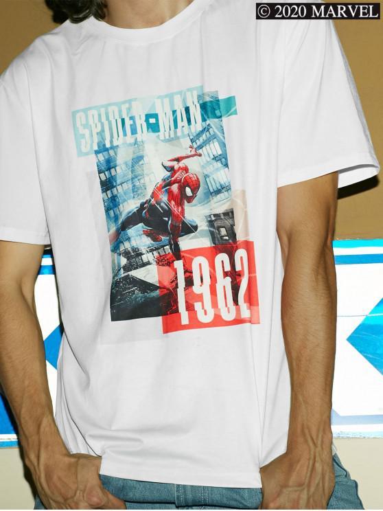chic Marvel Spider-Man Photograph Print Short Sleeve T-shirt - WHITE S