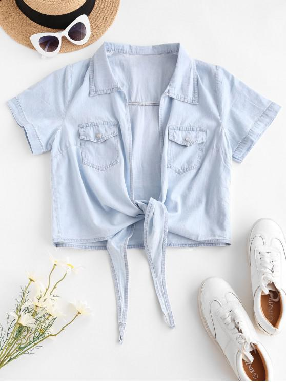 ladies Tie Hem Pocket Chambray Crop Blouse - LIGHT BLUE XL