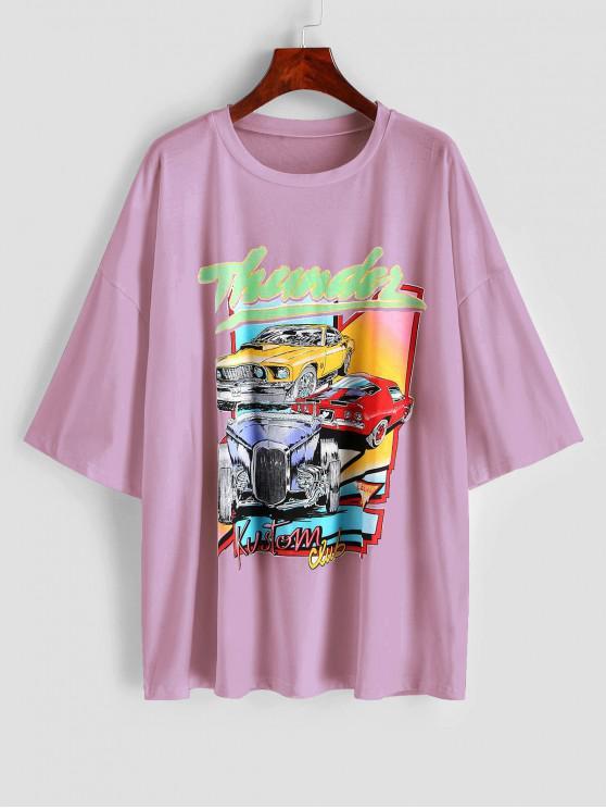 women Drop Shoulder Thunder Graphic Car Print T-shirt - LIGHT PINK S
