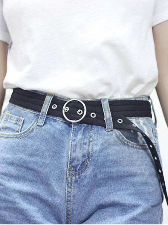 O Ring Canvas Round Buckle Belt - أسود