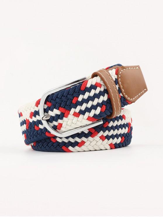 fancy Mixed Color Braid Elastic Canvas Buckle Belt - MULTI-A