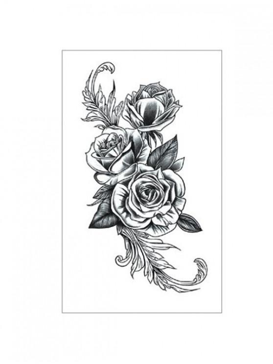 latest Floral Pattern Tattoo Sticker - CARBON GRAY