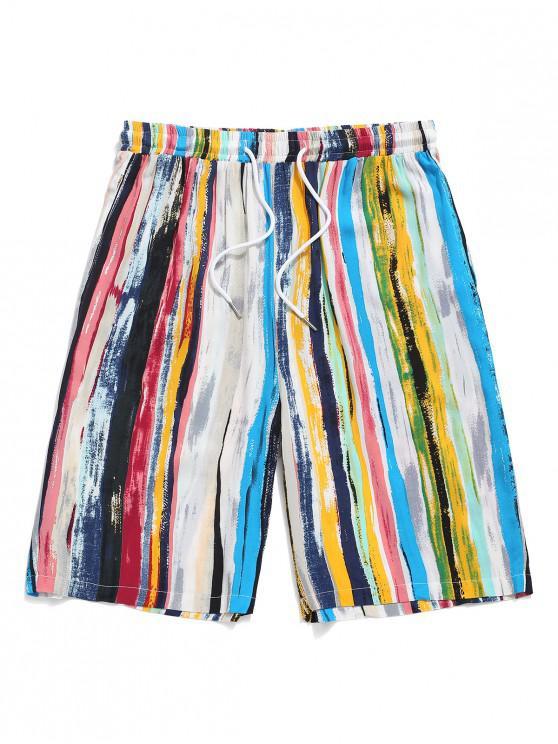 Colorful Striped Print Drawstring Beach Shorts - أزرق فاتح 2XL