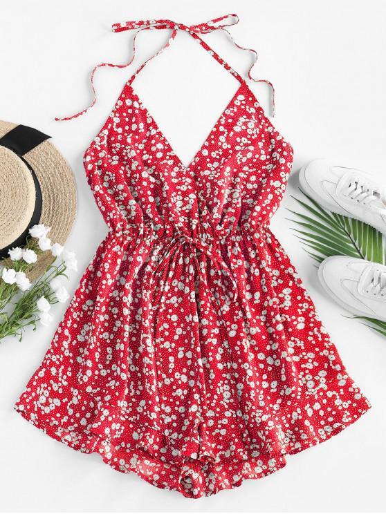 shop ZAFUL Ditsy Floral Tie Surplice Halter Romper - RED L