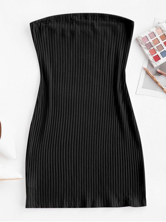 fashion Ribbed Bodycon Tube Dress - BLACK L