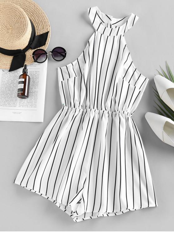shops ZAFUL Stripe Sleeveless Romper - MILK WHITE S