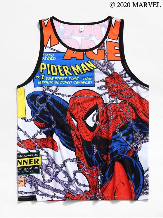women's Marvel Spider-Man Allover Cartoon Print Tank Top - MULTI M