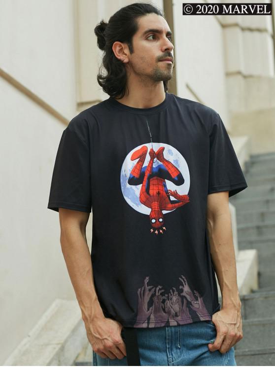 shop Marvel Spider-Man Moon Basic T-shirt - BLACK 2XL