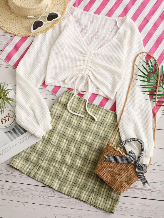 trendy Plaid Cinched Slit Mix and Match Skirt Set - LIGHT GREEN L