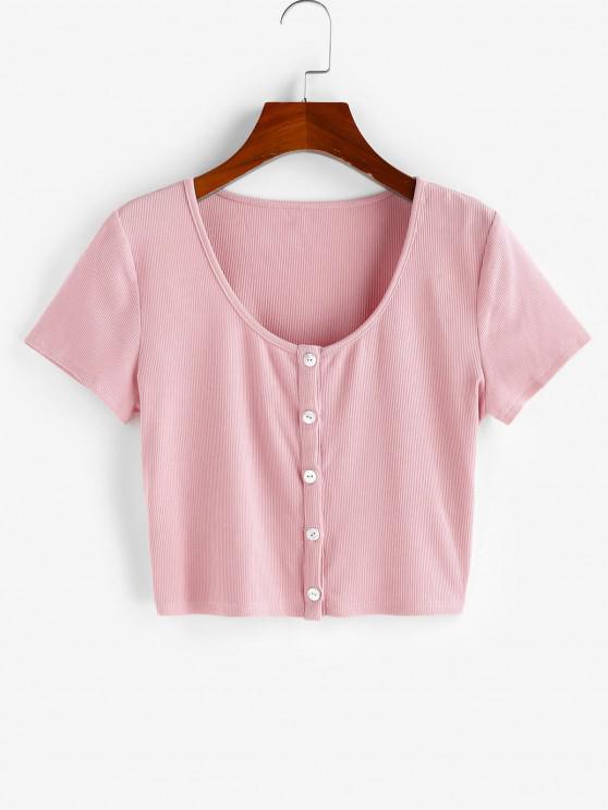 ZAFUL Camiseta Corta con Botón Acanalado - Rosado XL