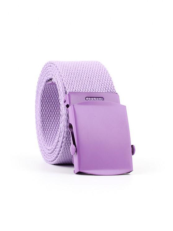 trendy Casual Canvas Solid Buckle Belt - PURPLE
