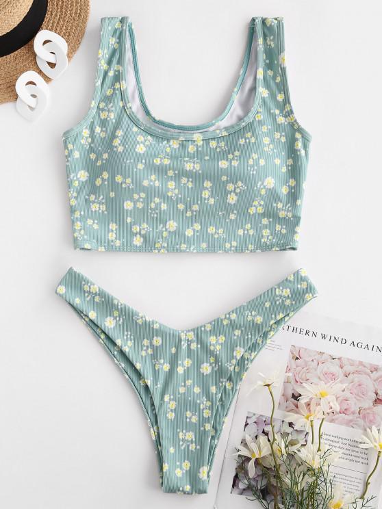 ZAFUL Ribbed Ditsy Print High Cut Tankini Swimwear - اخضر فاتح M
