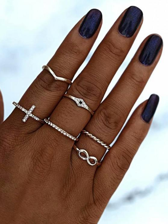 new Rhinestone Cross Number Shape Rings Set - GOLDEN