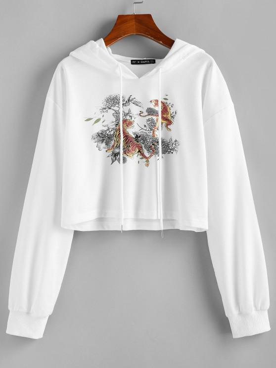 ZAFUL  Drawstring Tiger Print Cropped Hoodie - أبيض L