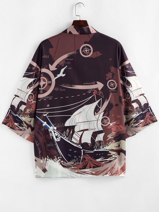 outfits ZAFUL Ocean Waves Boat Nautical Graphic Kimono Cardigan - DEEP COFFEE S