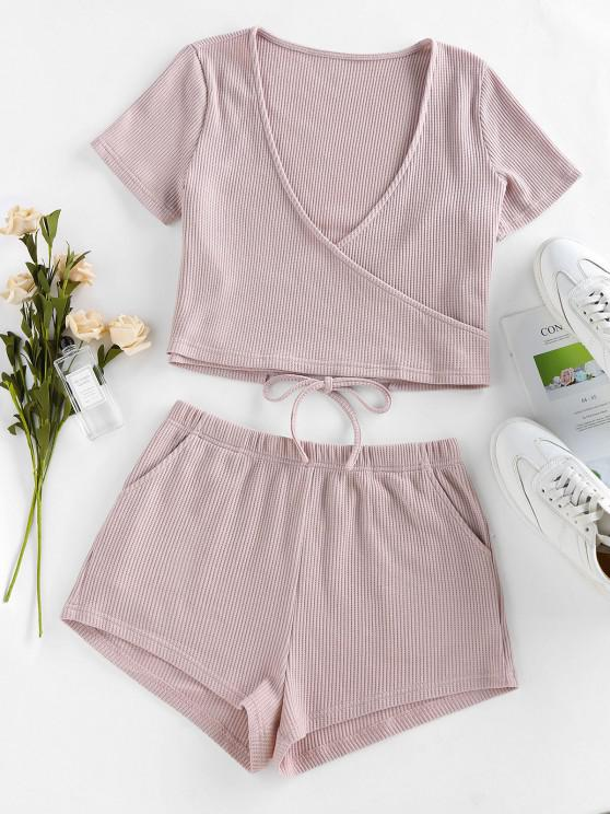 buy ZAFUL Lounge Knitted Plunging Pocket Shorts Set - LIGHT PINK M