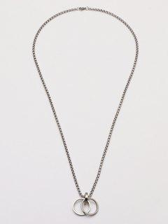 Dual Ring Pendant Chain Necklace - Silver