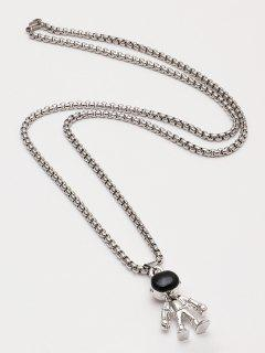 Astronaut Pendant Chain Necklace - Silver