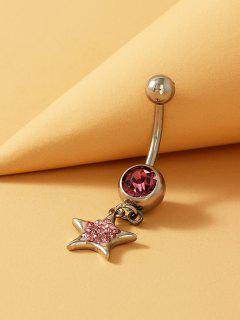 Star Rhinestone Stainless Steel Navel Ring - Pale Violet Red