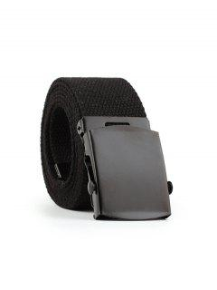 Casual Canvas Solid Buckle Belt - Black