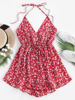 ZAFUL Ditsy Floral Tie Surplice Halter Romper - Red L