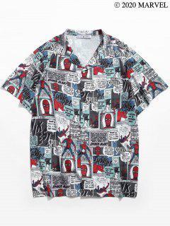 Marvel Spider-Man Allover Print Camp Collar Pocket Shirt - Blue Gray L