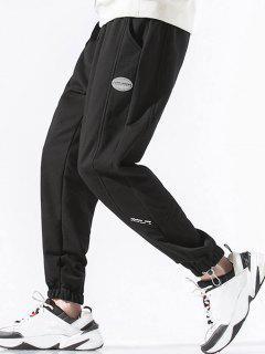 Drawstring PU Leather Label Design Sweatpants - Black 4xl