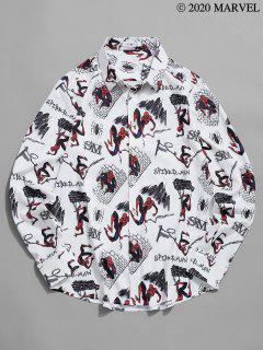 Marvel Spider-Man Cartoon City Print Long Sleeve Shirt - White M