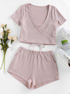 ZAFUL Lounge Knitted Plunging Pocket Shorts Set - Light Pink M