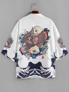 ZAFUL Koi Fish Ocean Waves Print Kimono Cardigan - White M