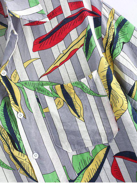 buy Leaves and Stripes Print Pocket Shirt - GRAY 2XL Mobile