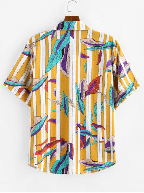 fancy Leaves and Stripes Print Pocket Shirt - YELLOW 2XL Mobile