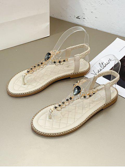 Sandales Plates Cœur avec Strass - Beige EU 40 Mobile