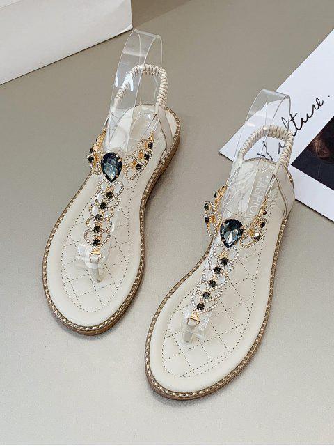 Rhinestone Heart Toe Post Flat Sandals - اللون البيج الاتحاد الأوروبي 38 Mobile