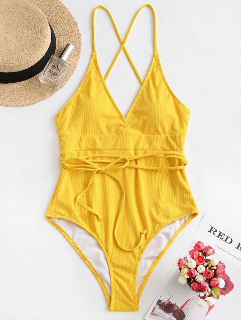 shop ZAFUL Ribbed Wraparound One-piece Swimsuit - MUSTARD L Mobile