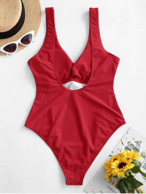 ZAFUL Plunge Twist One-piece Swimsuit - أحمر L Mobile
