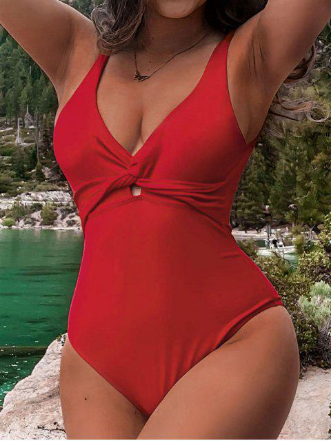 trendy ZAFUL Plunge Twist One-piece Swimsuit - RED S Mobile