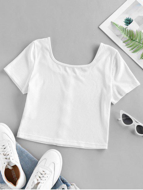 ZAFUL Mock Botão Veludo com Nervuras T-shirt Cortado - Branco L Mobile
