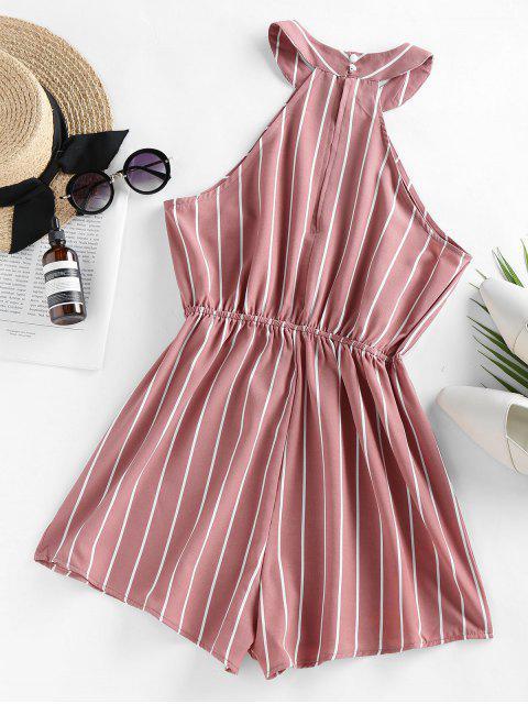 women's ZAFUL Stripe Sleeveless Romper - ROSE S Mobile