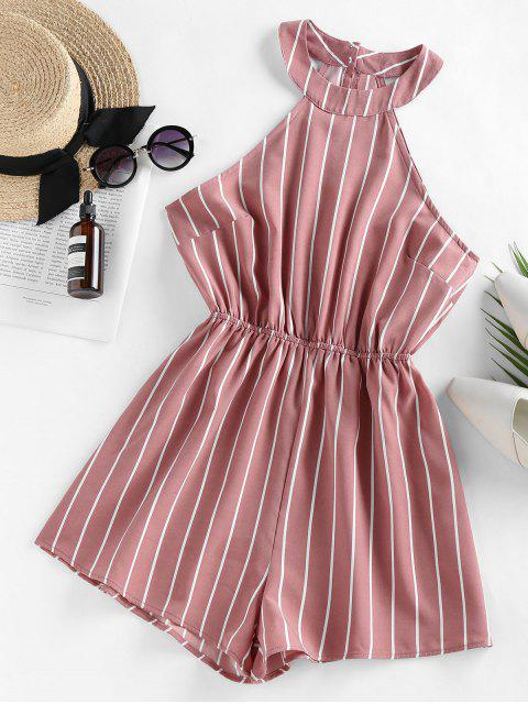 shops ZAFUL Stripe Sleeveless Romper - ROSE L Mobile