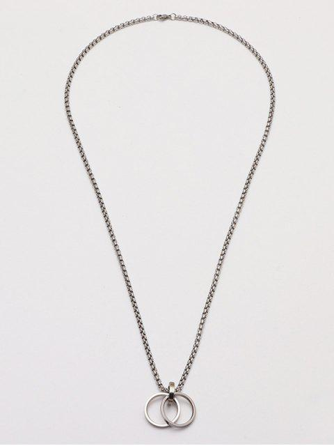 womens Dual Ring Pendant Chain Necklace - SILVER  Mobile