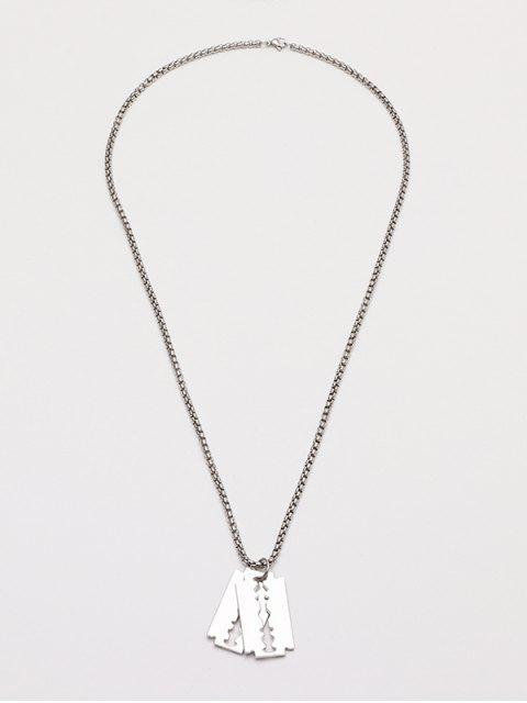 affordable Double Blade Pendant Chain Necklace - SILVER  Mobile