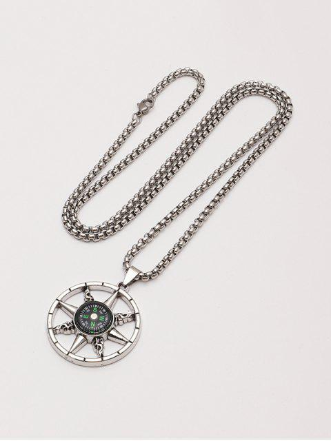 unique Compass Pendant Chain Necklace - SILVER  Mobile