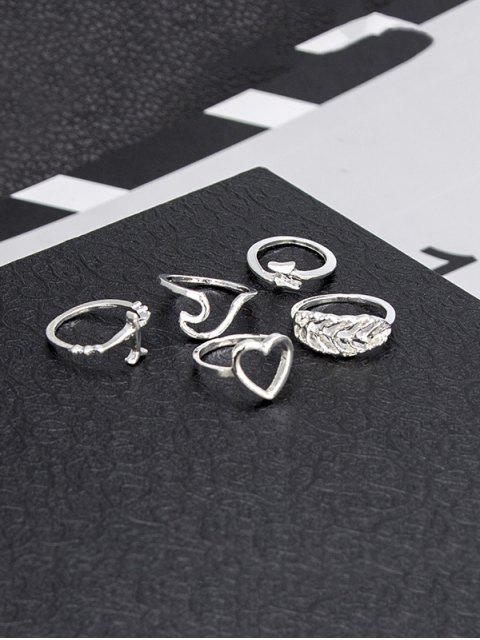 women's Leaf Heart Plane Shape Rings Set - SILVER  Mobile