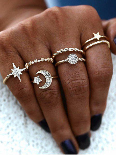 unique 6Pcs Star Moon Rhinestone Ring Set - GOLDEN  Mobile