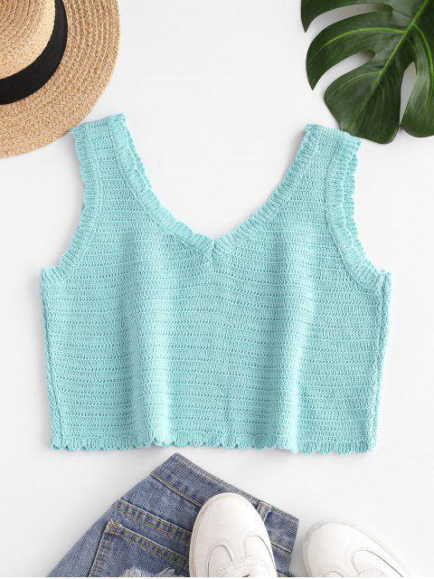 shops Flower Embroidered Scalloped Crop Knit Tank Top - BLUE ONE SIZE Mobile