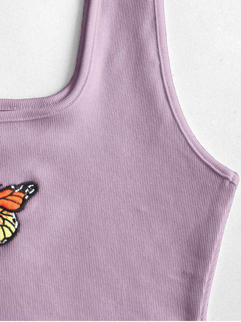 Geripptes Kurzer Geschnittenes Schmetterling Besticktes Tank Top - Helles Lila L Mobile