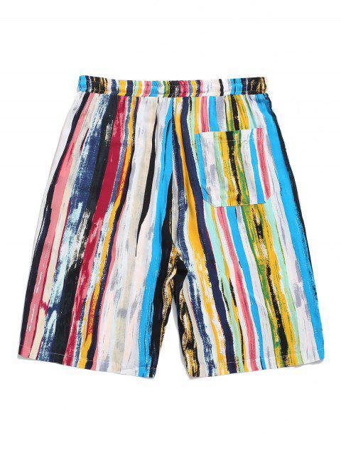 shop Colorful Striped Print Drawstring Beach Shorts - LIGHT BLUE 2XL Mobile